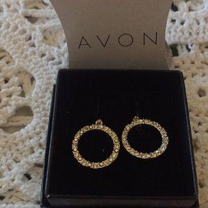 Avon 2013 Pave Open Circle Pierced Earrings New